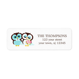 Bride and Groom Owls Wedding Label