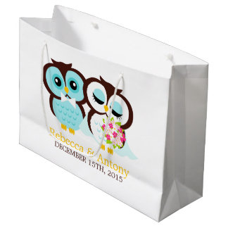 Wedding Gift Bag For Bride And Groom : Bride and Groom Owls Wedding Large Gift Bag