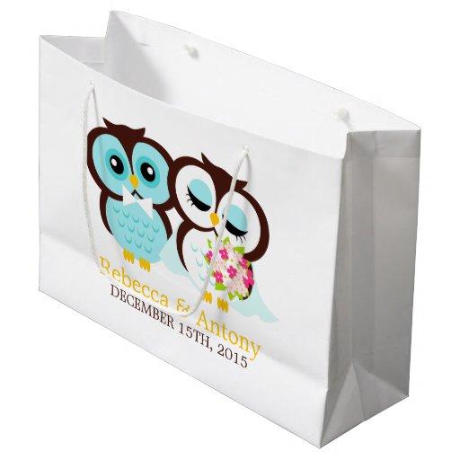Zazzle Wedding Gift Bags : Bride and Groom Owls Wedding Large Gift Bag Zazzle