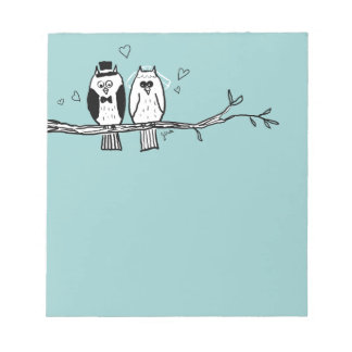 Bride and Groom Owls Wedding Note Pad