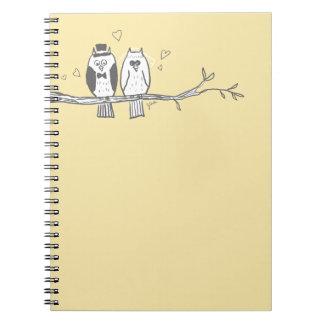 Bride and Groom Owls Wedding Notebook