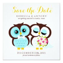 Bride and Groom Owls Wedding Save the Date Card