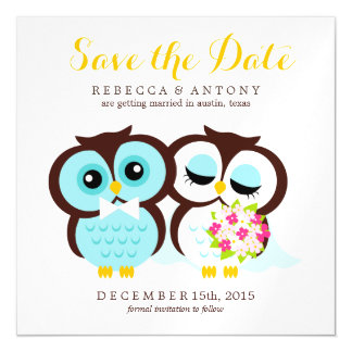 Bride and Groom Owls Wedding Save the Date Magnetic Card