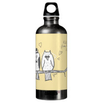 Bride and Groom Owls Wedding Water Bottle