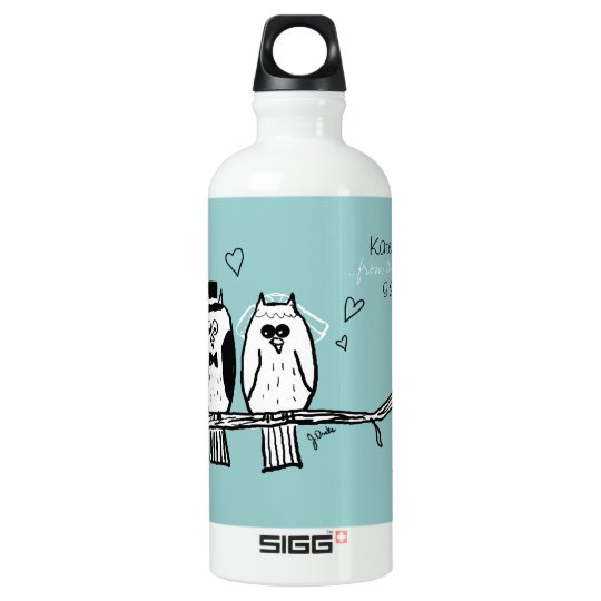 Bride and Groom Owls Wedding Water Bottle
