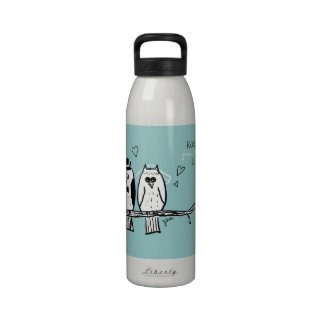 Bride and Groom Owls Wedding Drinking Bottle