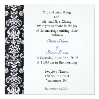 Bride and Groom parents, wedding invitation