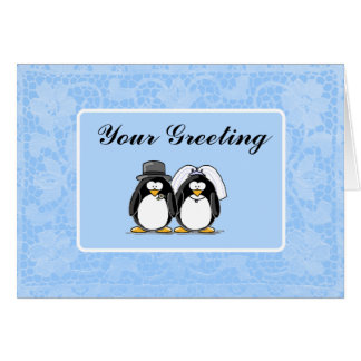 Bride and Groom Penguin Card