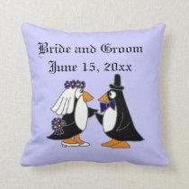 Bride and Groom Penguin Wedding Art Throw Pillow