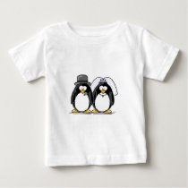 Bride and Groom Penguins Baby T-Shirt