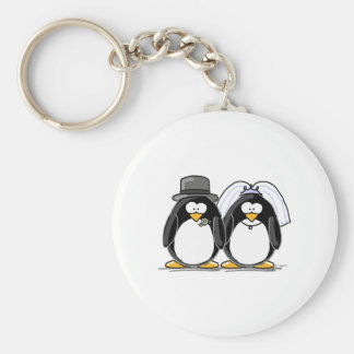 Bride and Groom Penguins Basic Round Button Keychain