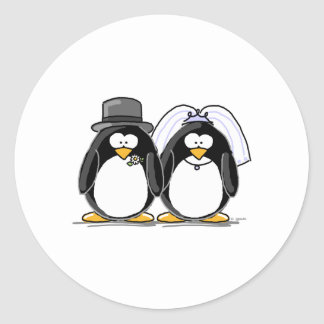 Bride and Groom Penguins Classic Round Sticker