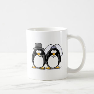 Bride and Groom Penguins Classic White Coffee Mug