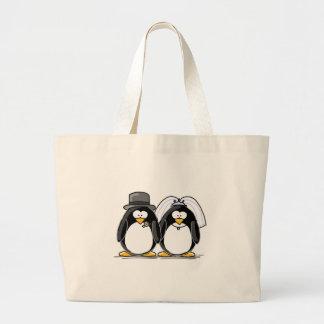 Bride and Groom Penguins Large Tote Bag