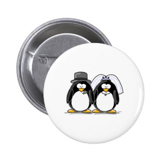 Bride and Groom Penguins Pinback Button