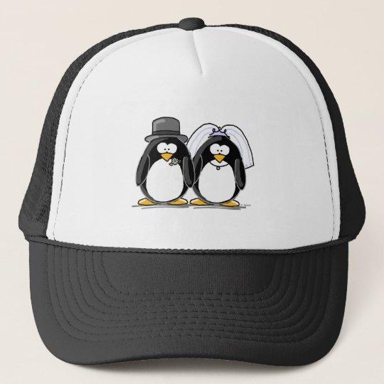 Bride and Groom Penguins Trucker Hat