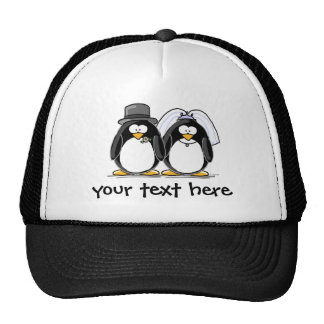 Bride and Groom Penguins with personalized text Trucker Hat