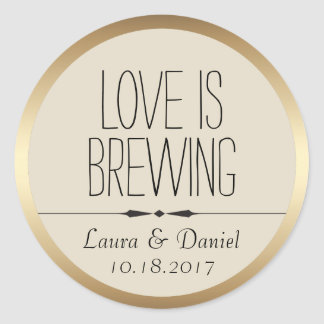 Bride and Groom Personalized Coffee Label Classic Round Sticker