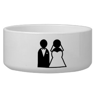 Bride and Groom Dog Water Bowl