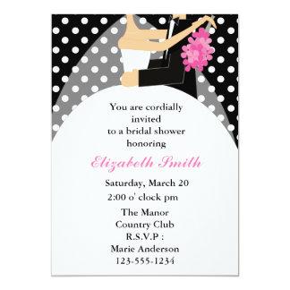 Bride and Groom Polka Dots Bridal Shower Card