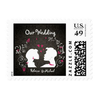 "Bride and Groom ""pucker up"" Our Wedding Postage"