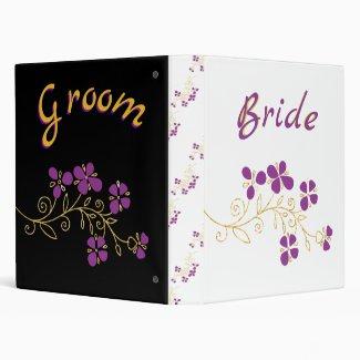 Bride And Groom Purple Floral 3 Ring Binder