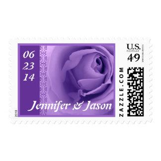 Bride and Groom Purple Rose Wedding  Stamp