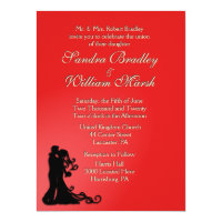 Bride and Groom Red 6.5x8.75 Paper Invitation Card