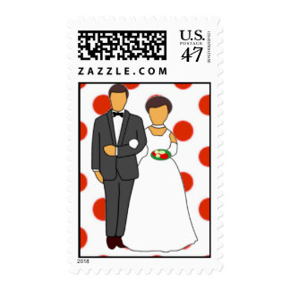 Bride and Groom Red Dots Postage