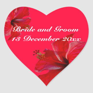 Bride and Groom Romantic Red Hibiscus Flowers Heart Sticker