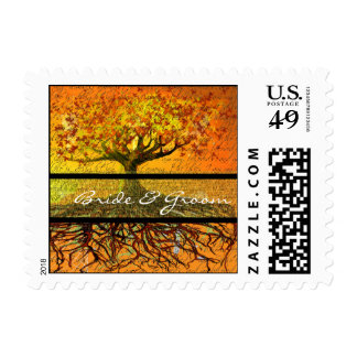 Bride and Groom Roots Tree Wedding Postage