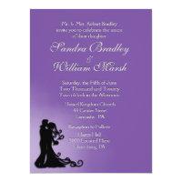 Bride and Groom Royal Purple 6.5x8.75 Paper Invitation Card