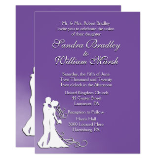 Bride and Groom Royal Purple Wedding Card