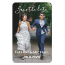 Bride and groom running, save the date, custom magnet