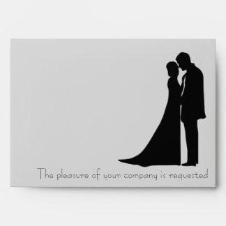 Bride and Groom silhouette elegant envelope