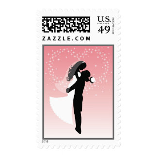 Bride And Groom Silhouette Postage Stamp