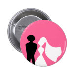 Bride and Groom Silhouette Wedding Pin