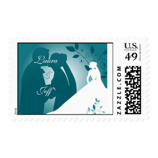 Bride and Groom Silhouette Wedding Postage