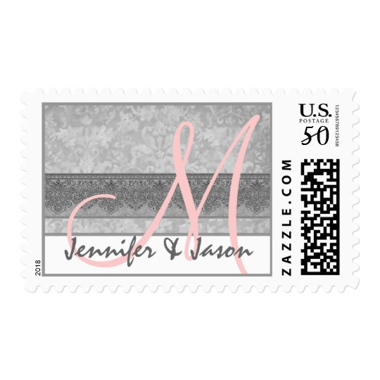 Bride and Groom Silvery Gray Damask Postage