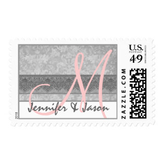 Bride and Groom Silvery Gray Damask Postage Stamp