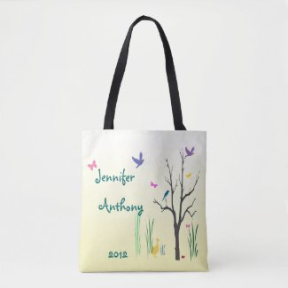 Bride and Groom Springtime Wedding Tote Bag