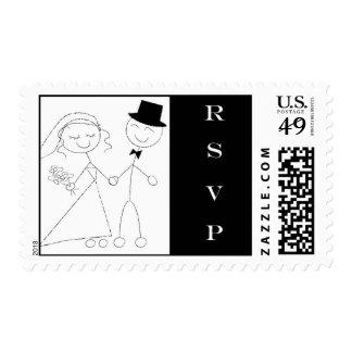 Bride and Groom Stick Figure RSVP Stamp
