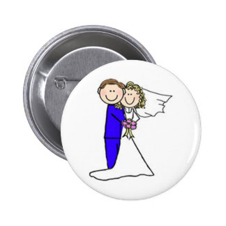 Bride and Groom Stick Figures Pinback Buttons