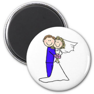 Bride and Groom Stick Figures Magnet
