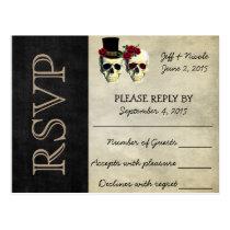 Bride and Groom Sugar Skulls Wedding RSVP Postcard