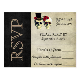 Bride and Groom Sugar Skulls Wedding RSVP Postcard