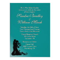 Bride and Groom Teal 6.5x8.75 Paper Invitation Card