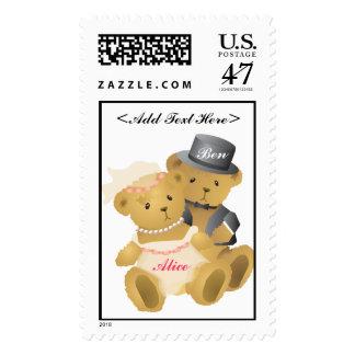 Bride and Groom Teddy Bear Postage Stamp