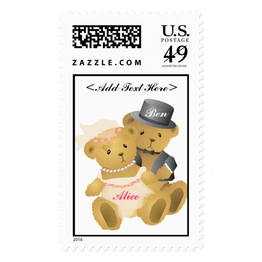 Bride and Groom Teddy Bear Postage Stamp