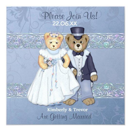 bride and groom teddy bear wedding invitation zazzle com